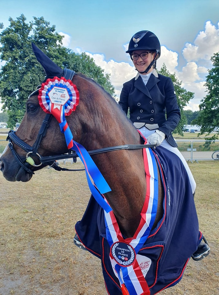 Winnetoo, champion de France Poney 1 D Excellence de Dressage avec Elsa Moronval - ph. coll.