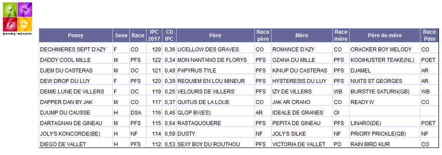 Indices Poneys 4 ans CCE - Poney As