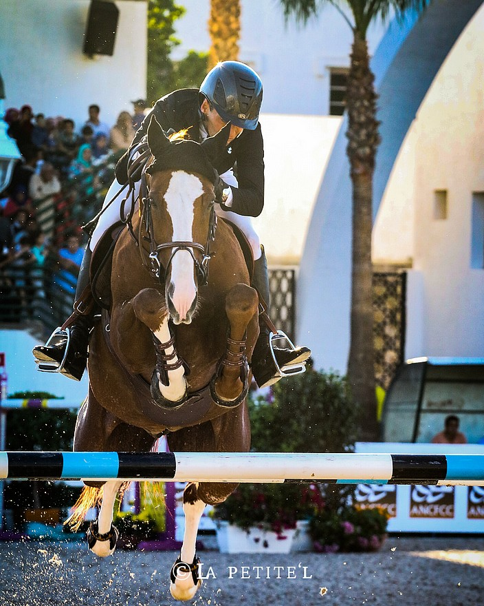 Pierre-Alain Mortier lors de la tournée du Morocco Royal Tour à la Garde Royale de Tétouan en octobre dernier. En photo sur le Grand Prix du CSI 4*-W à 1,60 m avec Just Do It R. Le couple termine 9e avec un barrage à 4 points - ph. La Petite'L