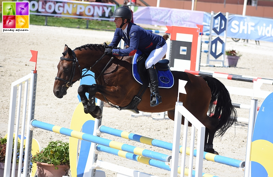 Virginie Lefebvre en selle sur Code Secret's Dream, un fils de son étalon pie Sioux du Godion issu d'une souche Welsh Cob. Le couple terminait 4e de la finale des 6 ans D en 2018 – ph. Poney As